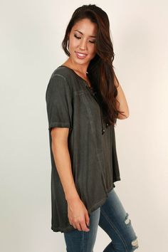Go With The Flow Tee in Charcoal
