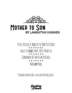 """an analysis of the use of metaphors in mother to son by langston hughes In langston hughes's poem, """"mother to son,"""" home page  mother to son analysis essay  more about mother to son essay example."""