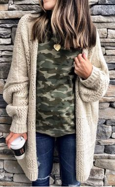 The Everyday Style: Cute Casual Winter Fashion Outfits Camo Shirt Outfit, Cardigan Outfits, T Shirt, Camo Cardigan, Winter Cardigan Outfit, Longline Cardigan, Boyfriend Cardigan Outfit, Cream Cardigan Outfit, Chunky Sweater Outfit