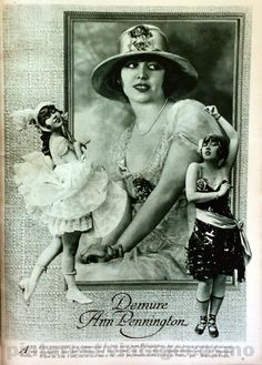 """Publicity photo of Ann Pennington from Cosmo Oct 1917. She is a dancer, singer, and actress that got her breakthrough starring in Ziegfeld Follies and George White's Scandals revues. She became a star in silent and talkie films, but most of them are lost. You can still see her dance the black bottom in """"Tanned Legs"""" (1929). She retired from performing in the 40s. Her last appearance was for a benefit show for armed forces in 1946. She died penniless and alone in New York City in 1971, aged…"""