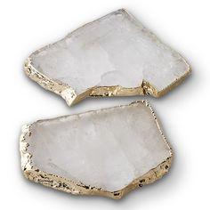 Kivita Coasters Set of 2, Crystal, Gold