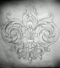 Acanthus motif More Mais Leather Carving, Leather Tooling, Wood Carving, Carving Designs, Leather Pattern, Leather Craft, Embroidery Patterns, Coloring Pages, Art Drawings