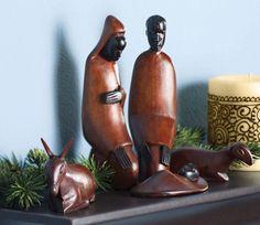 African Nativity, created by Tanzanian artists, made of mahogany and ebony