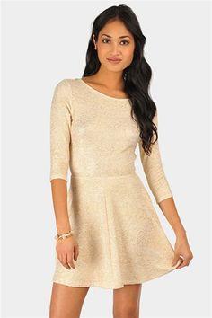 Glitter Tee Shirt Dress - Taupe