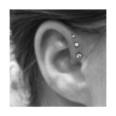 triple foward helix piercing ❤ liked on Polyvore