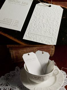 white letterpress tea tag business cards