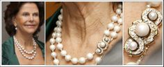 HM Queen Silvia of Sweden wearing a double row pearl necklace with pearl and diamond clasp.