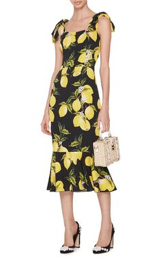 Silk Fitted Dress With Lemon Print by DOLCE & GABBANA Now Available on Moda Operandi