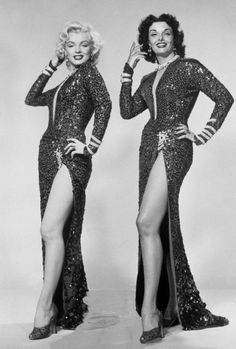 Marilyn Monroe and Jane Russell in Gentlemen Prefer Blondes, 1953.