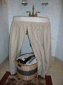 Yesterday I showed you my guest suite bathroom mini-transformation and promised a tutorial on my no-sew, pleated sink skirt. Bathroom Sink Skirt, Laundry Room Bathroom, Small Bathroom Storage, Downstairs Bathroom, Bathrooms, Bathroom Sinks, College Bathroom Decor, Beach Theme Bathroom, Utility Sink Skirt