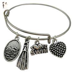 Swimming Bracelet, I love to swim, Swimming mom, bangle bracelet, charm bracelet, swimming, swimming Bangle, swim love, flipper, - Wedding bracelets (*Amazon Partner-Link)