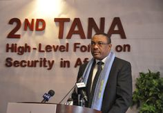 Prime Minister Hailemariam addresses delegates at the edition of the Tana High Level Forum on Security