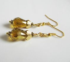 Goldbrown crystal cluster earrings, by romanticcrafts, $11.00