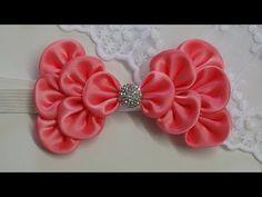 How to make kanzashi hair bow,Diy ribbon bow,baby headband tutorial - YouTube