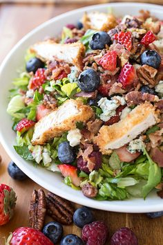 Summer Berry and Crispy Chicken Chopped Salad with Candied Pecans, Crisp Bacon, Blue Cheese and Sweet Red Berry Vinaigrette