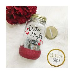 Date Night Fund Bank // Mason Jar Bank // Glitter Bank // Glitter Cup // Date Night // Saving Money // Bank // Glitter Mason Jar // Money Mason Jar Bank, Mason Jar Cups, Glitter Mason Jars, Glitter Cups, Mason Jar Crafts, Bottle Crafts, Diy Craft Projects, Diy And Crafts, Craft Ideas