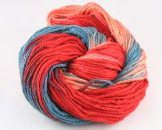 Thick 3 ply Reclaimed and Recycled Silk Cloud Yarn: Firefox