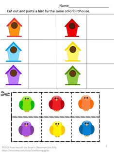 emergency sub plans Color Matching, Cut and Paste Activities Packet. In this no prep packet, students will practice their colors. They work well for early finishers, morning work, h Color Activities For Toddlers, Color Worksheets For Preschool, Cutting Activities, Preschool Colors, Preschool Learning Activities, Preschool Activities, Kids Learning, Cut And Paste Worksheets, Preschool Kindergarten
