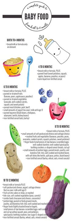 Complete Baby Food Guide Chart from Birth to 12 Months! #babyfoodguide #babyfoodchart #babyfoodguidechart