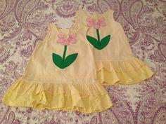 Toffee Apple 2T seersucker dress soft yellow. $3 each