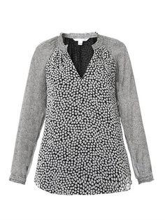 V-neck contrast-print blouse   Diane Von Furstenberg   MATCHES...