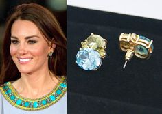Kate Middleton, Duchess of Cambridge, during African Cats film premiere in 2012 wearing a dress by Matthew Williamson.   Replikate earrings, gold-plated with green and light blue crystals by TatianasDelights shop on Etsy, US$ 54