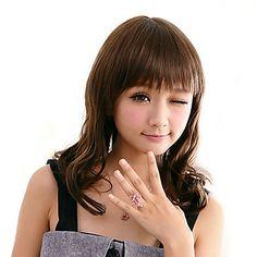 Høy kvalitet syntetisk Full Bangs Medium Long krøllete hår parykk (Sjokoladebrun) – NOK kr. 192