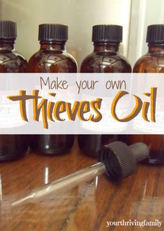 Thieves Essential Oil Base: 1 part Eucalyptus 1 part Rosemary 1 1/4 part Cinnamon 1 1/2 part Lemon 1 1/2 part Clove 2 parts Melaleuca 1 part Oregano 1 part Thyme You can also use a combination of the herbs and lemon peel to make a tincture in apple cider vinegar or vodka. Or infuse them in olive oil. The Eucalyptus and Melaleuca would be hard to find. But all the rest could be used fresh in your liquid and let set in a warm place for 4-6 weeks – then use!