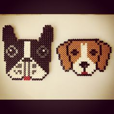 Bulldog and beagle magnets hama beads by evi7aam