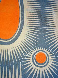 Paisley Sunburst shawl - grey/orange Cressida Bell.