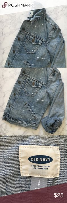 DONATING SOON 💕 NWT Denim Jacket Distressed/with paint splatters - never worn, tags still attached. Perfect for fall & being on trend but it's just too big for me 😭 Old Navy Jackets & Coats Jean Jackets