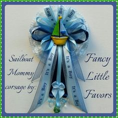 Sailboat Mommy Baby Shower Corsage by Fancy Little Favors.  Like us on Facebook to see our other creations.