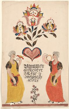 Drawing (Two Women with a Heart and Flowers) - Fraktur