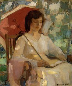 Reading Under a Parasol. Clarence Hinkle (American, Hinkle studied at the ASL in NYC under Wm Chase and at the PAFA where he won the Cresson Scholarship for six years at Académie Colarossi. Reading Art, Woman Reading, Illustrations, Illustration Art, People Reading, Books To Read For Women, Book Letters, Female Art, Painting & Drawing
