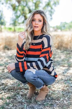 Go The Distance Navy Blue Striped Sweater - Outfits Cute Fall Outfits, Mom Outfits, Fall Winter Outfits, Autumn Winter Fashion, Casual Outfits, Navy Blue Outfits, Cowgirl Outfits, Fashion Fall, Cute Sweaters