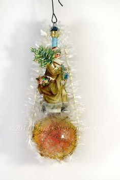 Santa on Antique Frosted Glass Sugar Plum by DresdenStarOrnaments