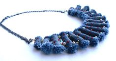 Jeans Bead Embroidered Necklace - Jeans necklase, Boho, Beaded jewelry, Beadwork necklace, Bijou