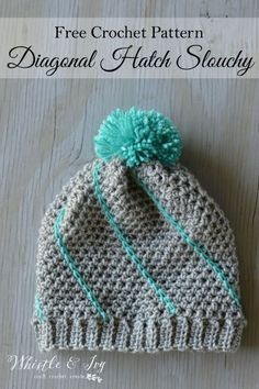 Free Crochet Pattern - Diagonal Hatch Slouchy Hat   Mix and match colors for your perfect hat