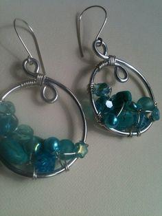 beaded wire wrapped earrings