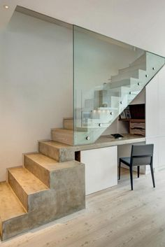 140 elegant glass stairs design ideas for you this year -page 27 Interior Railings, Interior Stairs, Interior Architecture, Interior Design, Glass Stairs Design, Staircase Design, Staircase Glass, Desk Under Stairs, Stairs To Heaven