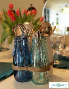 Glass bottles tied with twine! #kirklands #bloglovin! @Jess Pearl Liu Kielman         Mom 4 Real