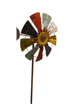 Item# BAZ156, NEW Radiate serene beauty from your garden with our Windmill Garden Stake! Each stake is masterfully crafted which makes them a great addition to any type of outdoor décor. Crafted from Iron, Easily insertable two prong stand,  Attention grabbing blades that move with the wind,  Dimensions: 18