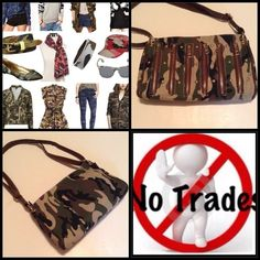 NWT TRENDY CAMO BAG Brand new without tags. Never used. The pictures say it all. This is a must have Camo bag with the 6 gold zippers & gold studs across it makes it very trendy. The strap can be adjusted for shoulder length or Crossbody. It measures almost 12 inches across & 8 inches up & down. Also has a full zip pocket on the inside & 2 other little pockets also inside. It's made out of a heavy cloth material.❌NO PP NO TRADES❌ Bags