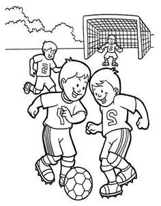 Voetballende Kinderen Kleurplaat