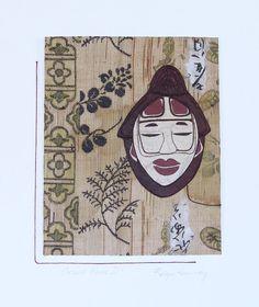 Orient House  Textile art Asian mask Vintage Japanese