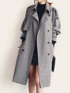 Shop Monochrome Plaid Double-breasted Pocket Detail Tied Trench Coat from choies.com .Free shipping Worldwide.$64.99