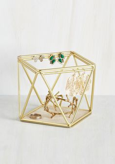 Dresser to the Nines Jewelry Holder. Even when your amazing accessories arent adorning your ensembles, theyre still lookin stellar stored on this geometric jewelry organizer! #gold #modcloth