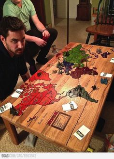 An awesome risk board on a coffee table.