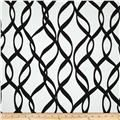 Screen printed on cotton duck; this versatile medium weight fabric is perfect for window treatments (draperies, valances, curtains and swags), accent pillows, duvet covers and upholstery. Colors include black, metallic silver and white.