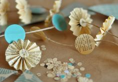 Recycled book pages garland
